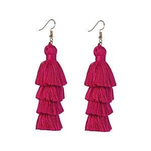 🆕Fuchsia 4 Layer Fiesta Tassel Earrings